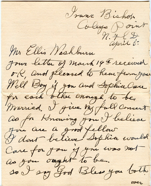 1945 April letter Isaac bixhop to Ellis Washburn 3